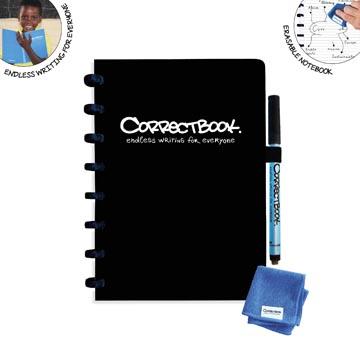Correctbook Original, A5, cahier effaçable / réutilisable, ligné, Ink Black (noir)