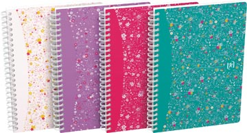 Oxford Floral couverture rembordée cahier à spirale, ft A5, 60 feuilles, quadrillé 5 mm, 4 décors