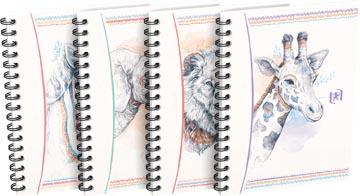 Oxford Boho Chic cahier spiralé, ft A6, 120 pages, quadrillé 5 mm, couleurs assorties