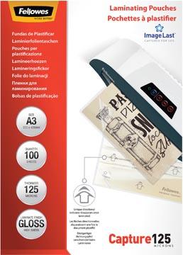 Fellowes pochette à plastifier Capture125, ft A3, 250 microns (2 x 125 microns), paquet de 100 pièces