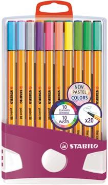 STABILO point 88 fineliner, PastelParade, étui de 20 pièces en couleurs assorties