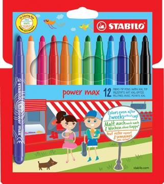 STABILO power max feutre, étui de 12 pièces en couleurs assorties