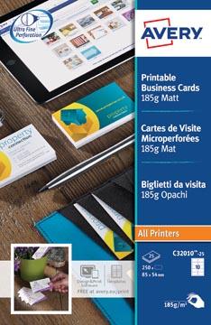 AVERY cartes de visite 185 g/m², 10 par feuille, 250 pièces